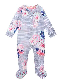 Baby Stripe Floral All In One With Feet