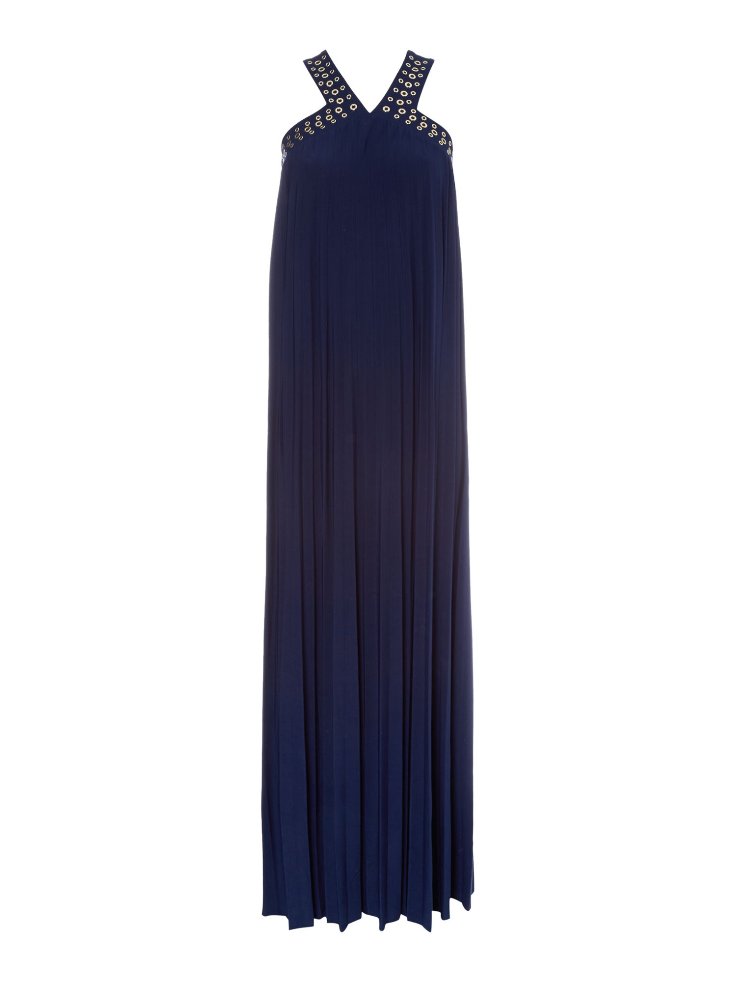 Michael Kors Sleeveless maxi dress with halter neck, Blue