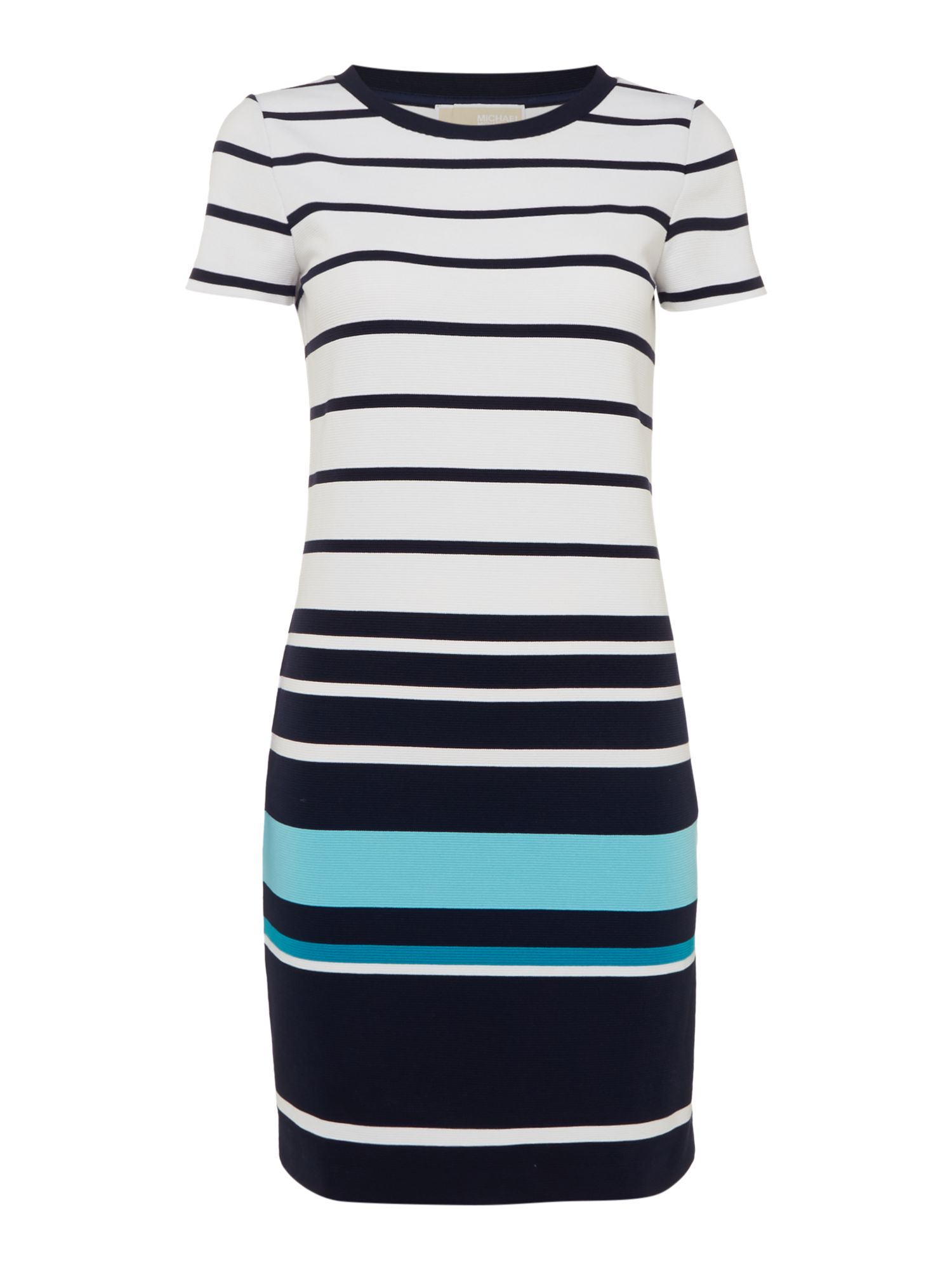 Michael Kors Short sleeve t-shirt style striped dress, Peacock Blue