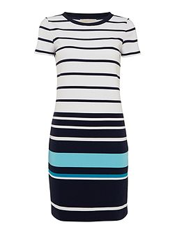 Short sleeve t-shirt style striped dress