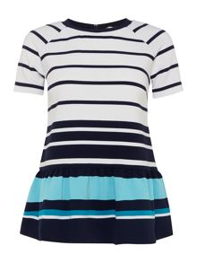 Michael Kors Short sleeve striped peplum top