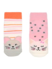 Joules Baby Cat and Mouse 2 Pack Socks