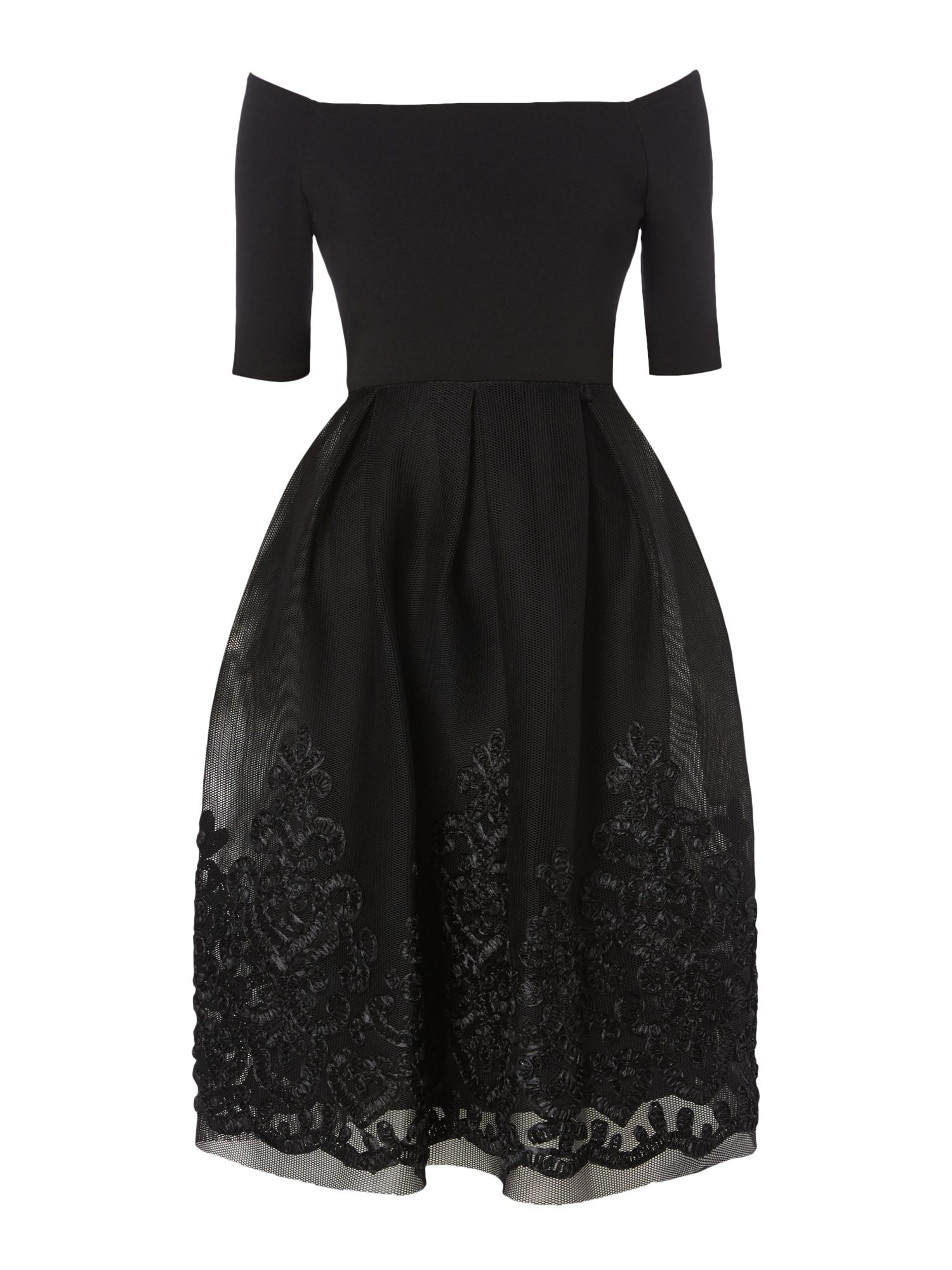 Eliza J Off shoulder dress with floral hem, Black
