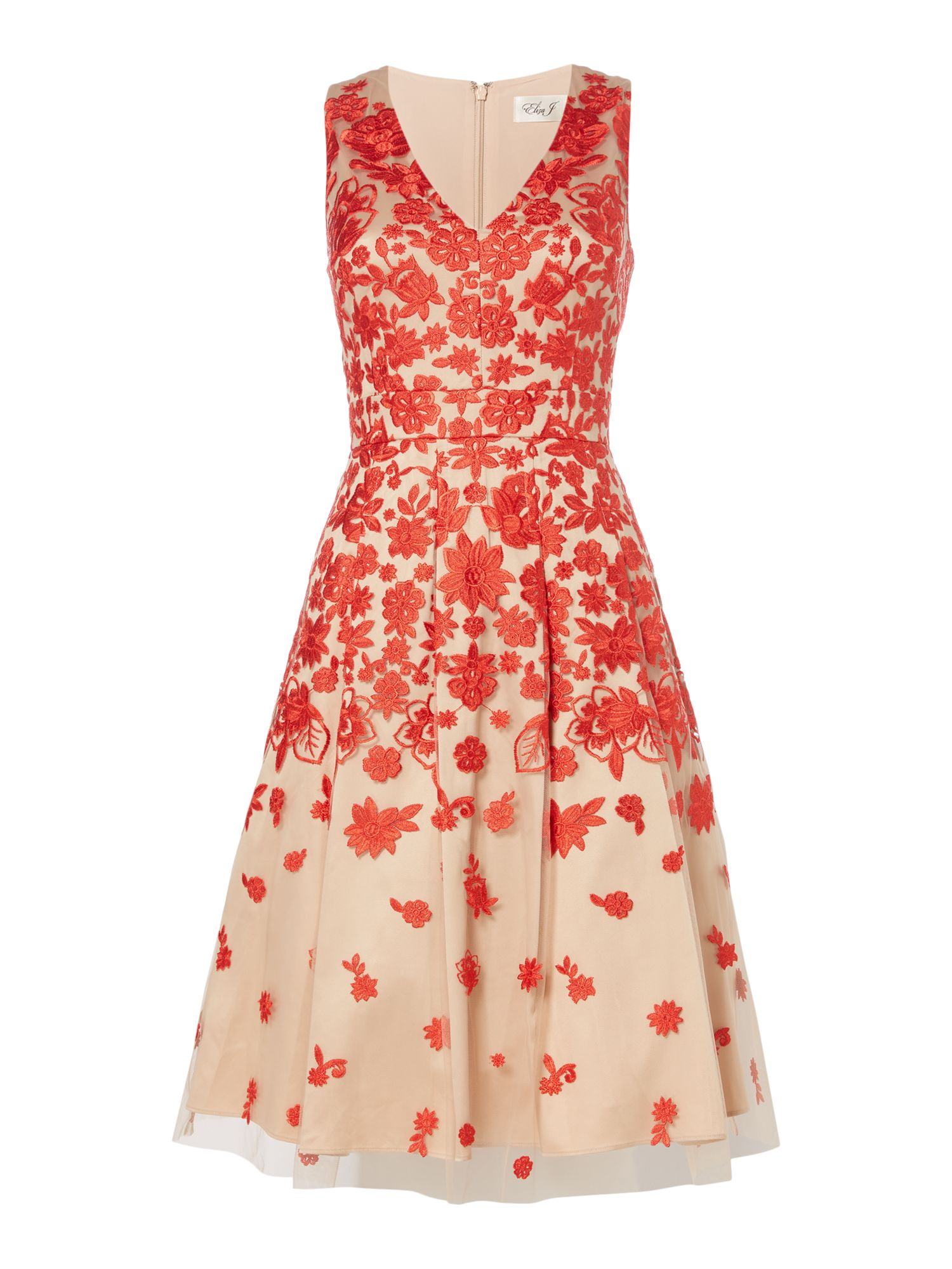 Eliza J Sleeveless midi dress with red floral embroidery, Red