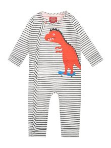 Joules Baby Stripe Dino Long Sleeve All In One