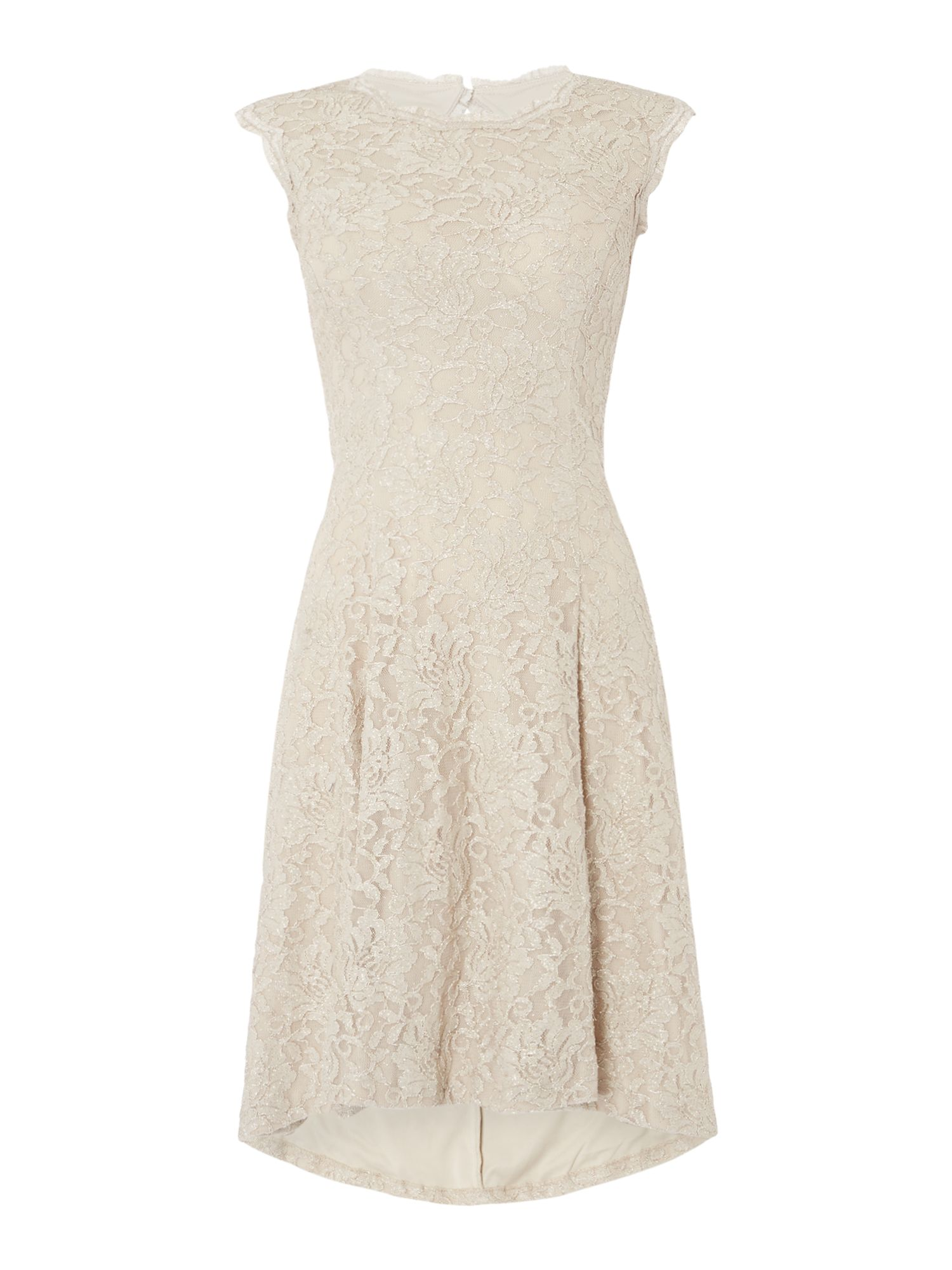 Eliza J Sequin lace shift dress, Champagne