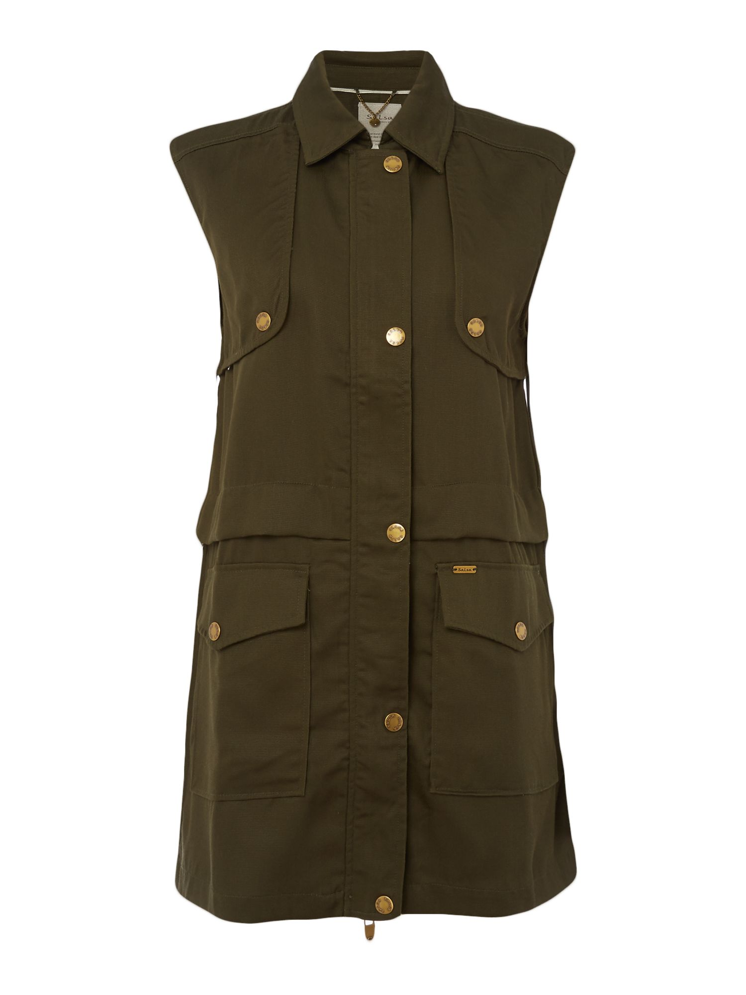 Salsa Sleeveless jacket, Khaki