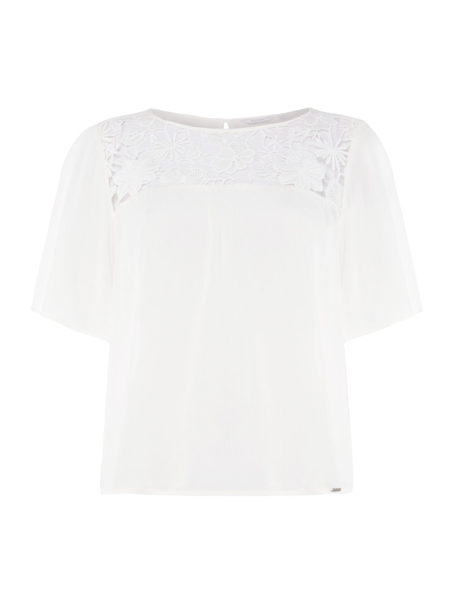 Salsa Lace neck detail top, White
