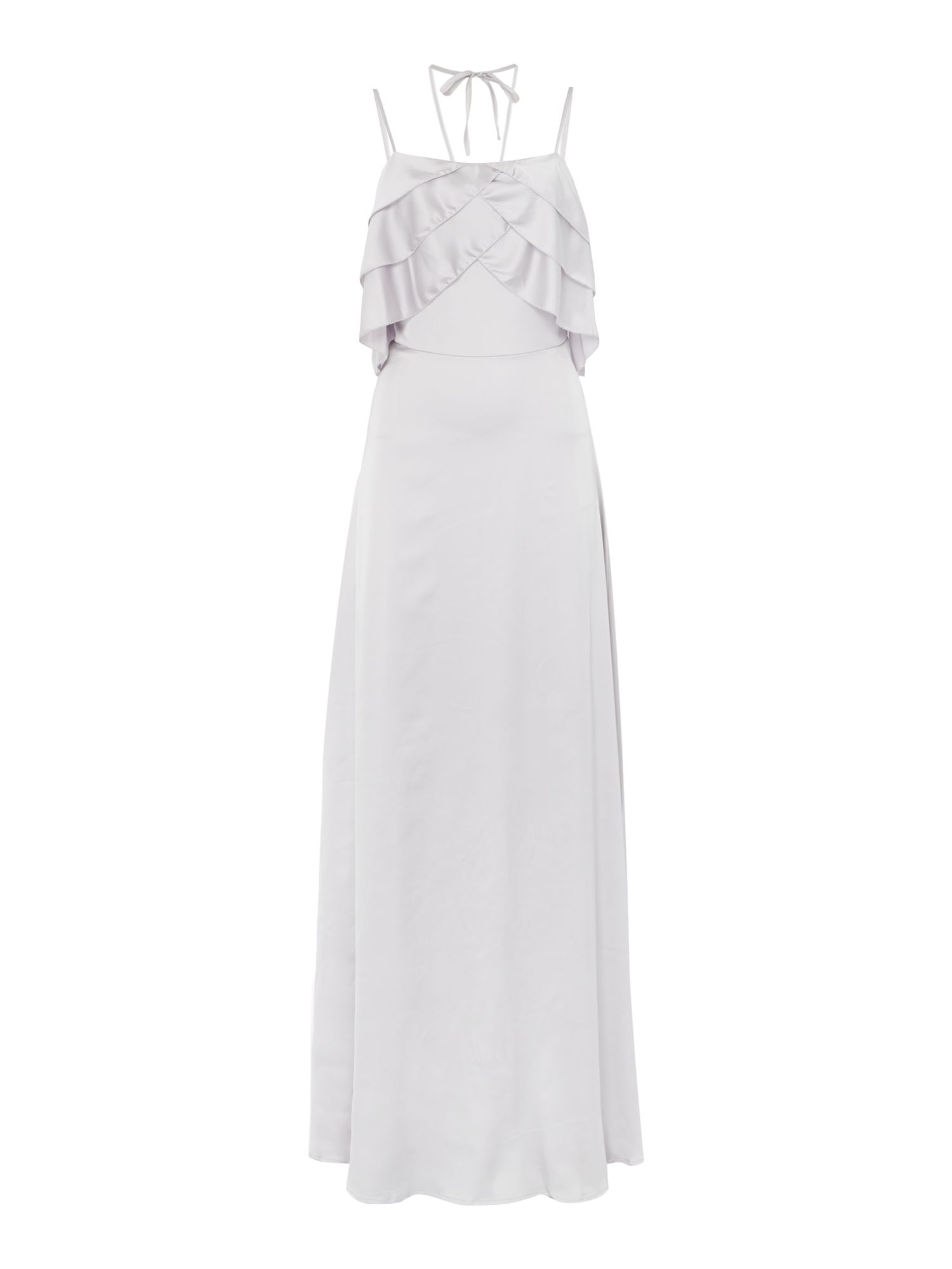 Lost Ink Nicole cami style layered bust maxi dress, Silver