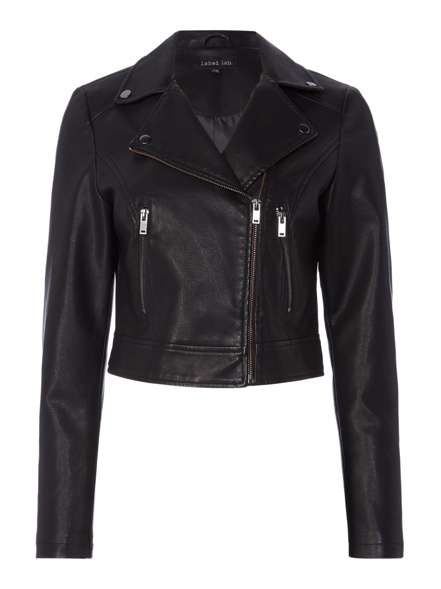 Label Lab Cropped PU Biker Jacket, Black