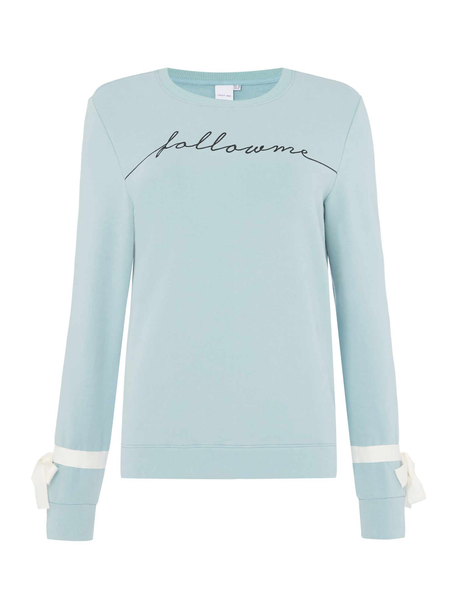 Lost Ink Slogan long sleeve knitted jumper with bow detail Turquoise