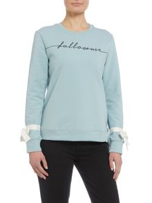 Lost Ink Slogan long sleeve knitted jumper with bow detail