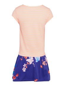 Joules Girls Jersey Stripe Floral Dress