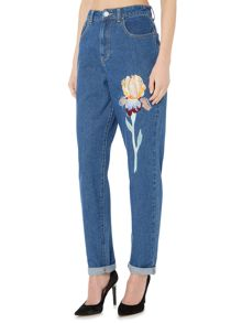 Lost Ink Embroidered leg mom jean