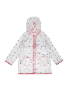 Joules Girls Zip Up Spot Print Rain Mac