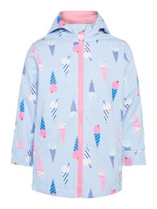 Joules Girls Ice Cream Hooded Rubber Coat