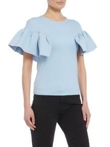 Lost Ink Cap sleeve frill detail top