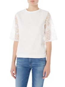 Lost Ink Floral organza 3/4 sleeve cropped jumper