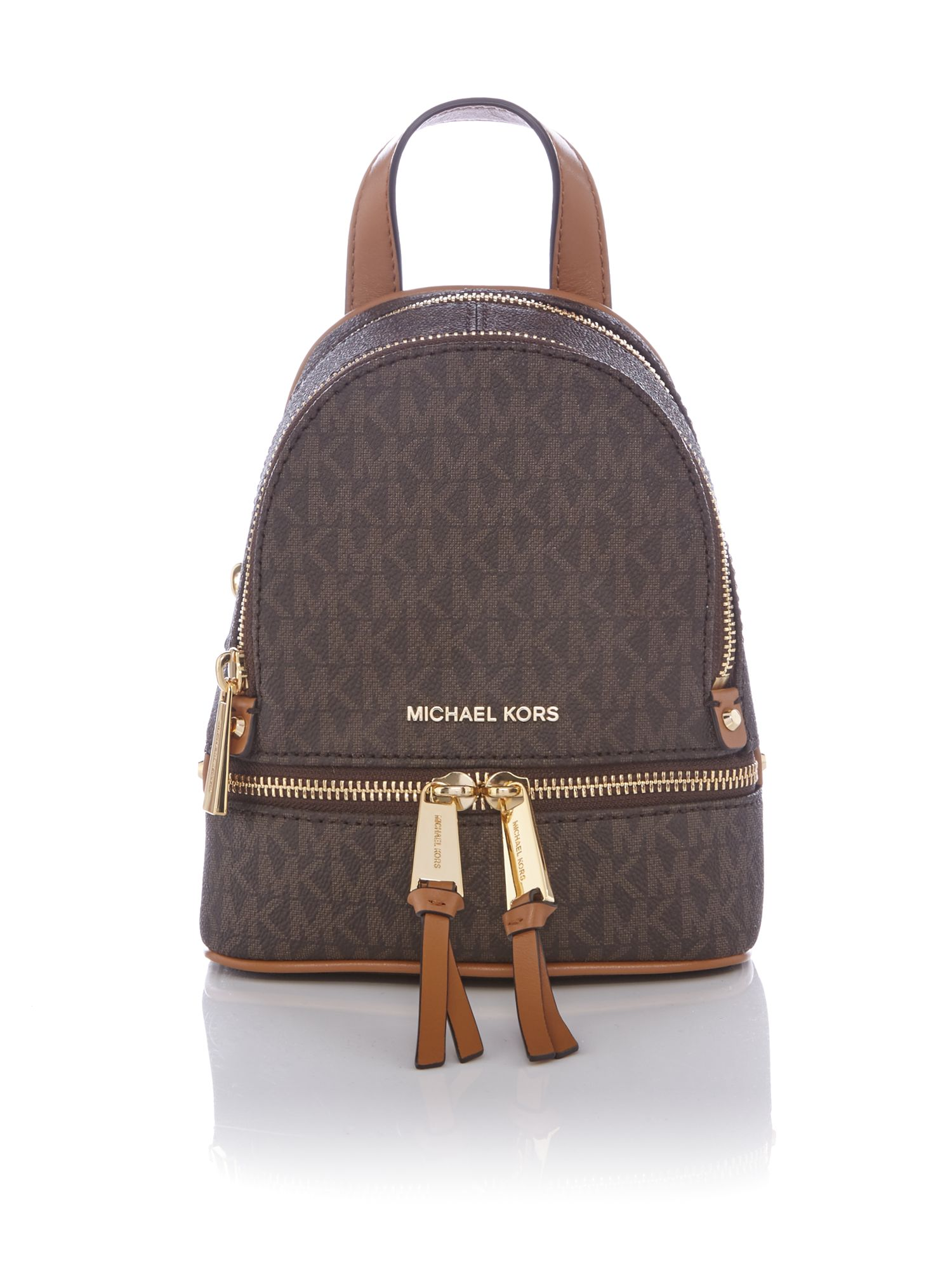 Lyst - Michael Kors Rhea Mini Logo Backpack in Brown 3d73973383