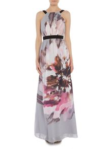 Little Mistress Sleeveless halter neck printed maxi dress