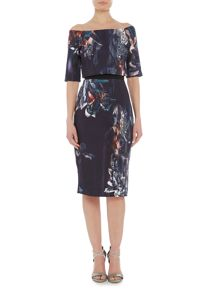 Little Mistress Bardot 3/4 sleeve floral print bodycon dress