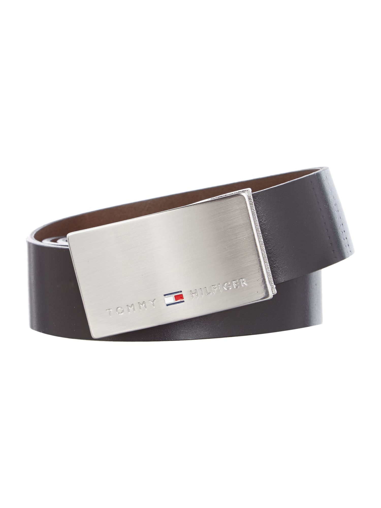 Tommy Hilfiger Plaque and Logo Keeper Belt In A Box Black