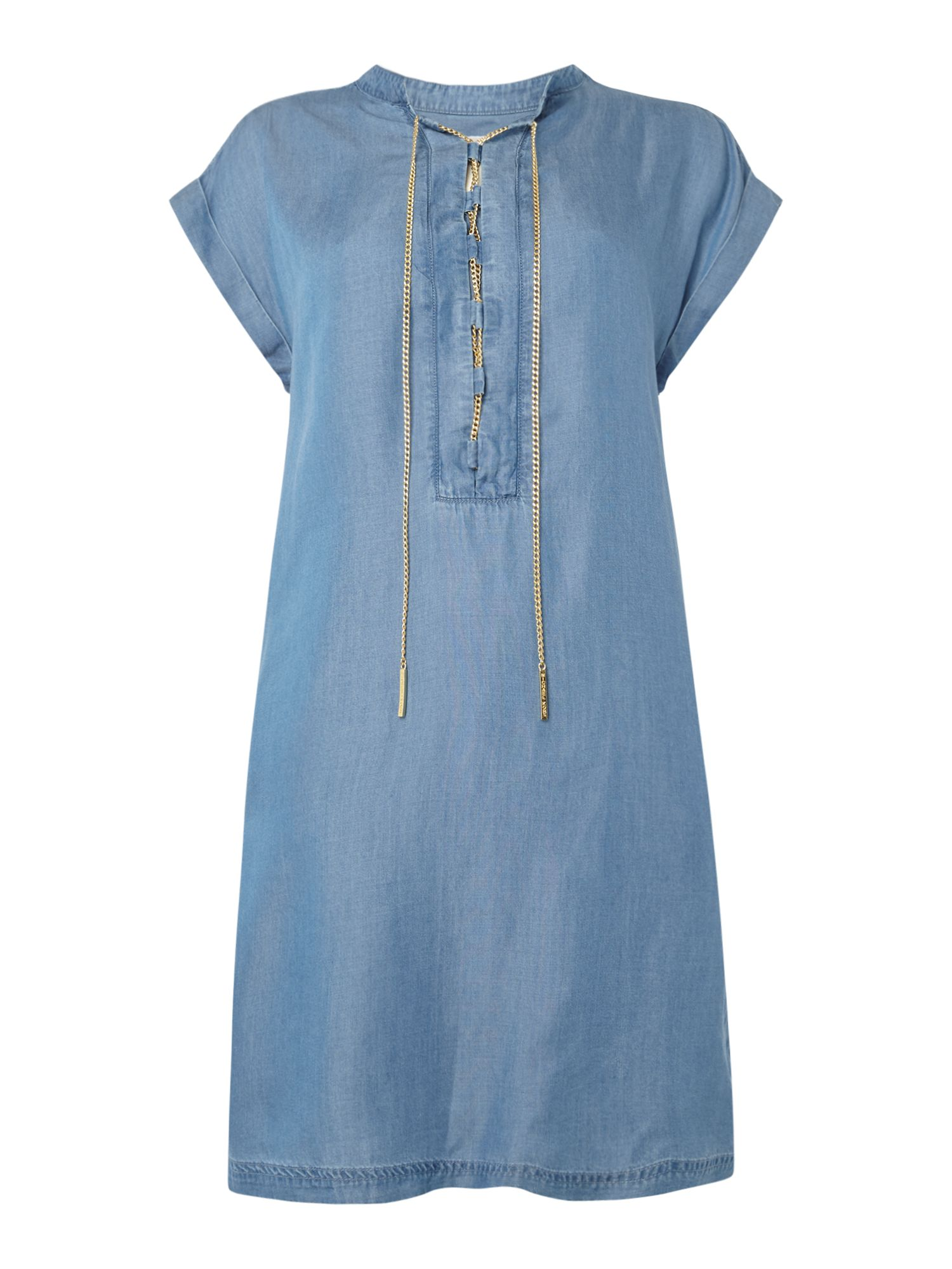 Michael Kors Sleeveless lace up neck shift dress, Light Blue