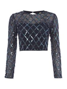 Lace and Beads Diamond embellished top