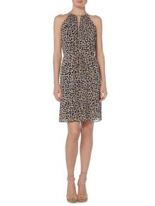 Michael Kors Halter neck leopard print dress