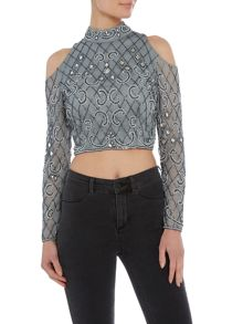 Lace and Beads Cropped cold shoulder top