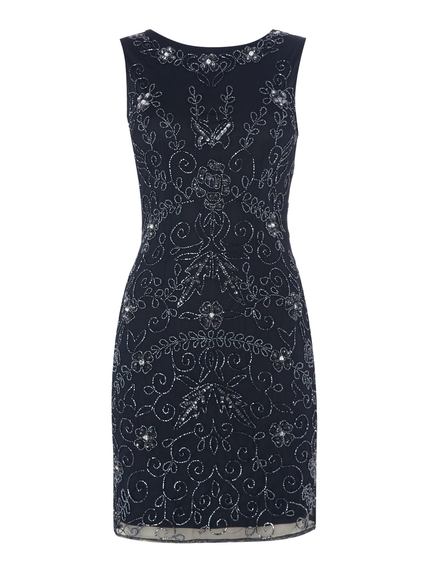Lace and Beads Sleeveless embellished bodycon dress, Blue