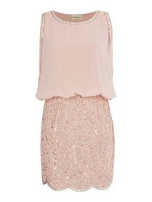 Lace and Beads Blouson top embellished skirt