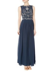 Lace and Beads Open back maxi dress
