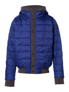 Barbour Boys Hooded Padded Jacket With Popper Front