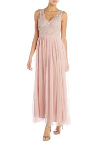 Lace and Beads Plunge maxi dress