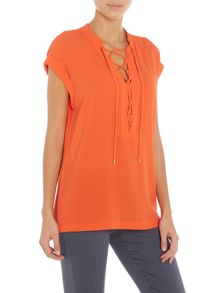 Michael Kors Cap sleeve top with lace up neck