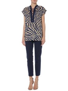 Michael Kors Shortsleeve zebra lace up top