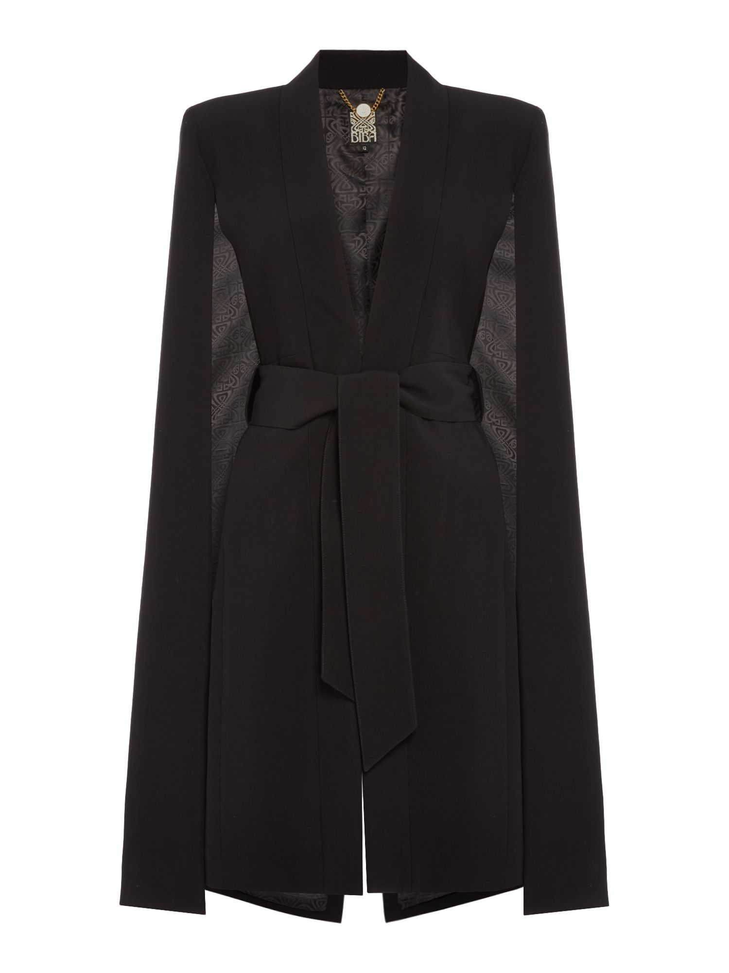 Biba Luxe belted cape back jacket, Black