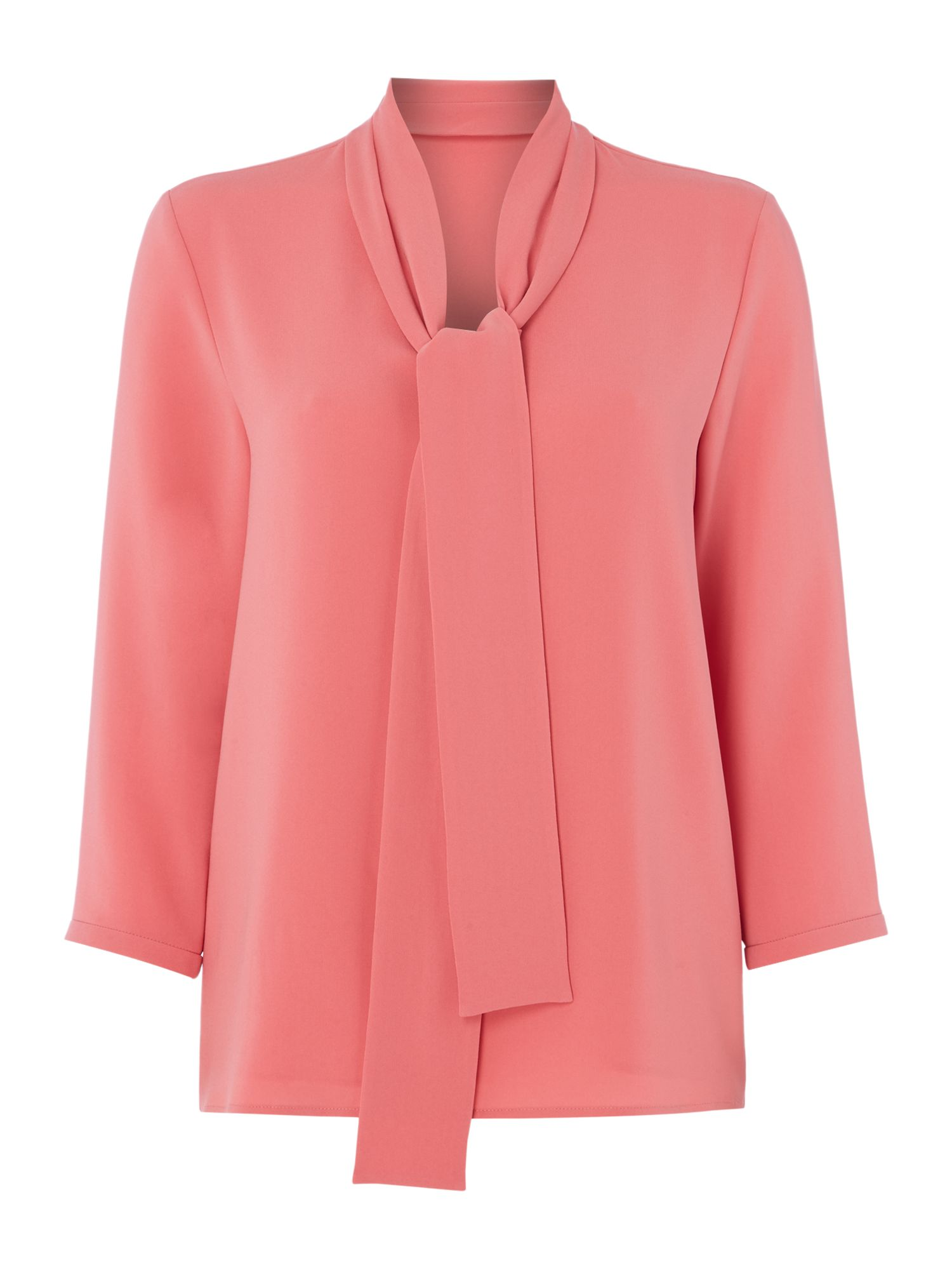 Hugo Boss Lasena tie neck blouse, Pink