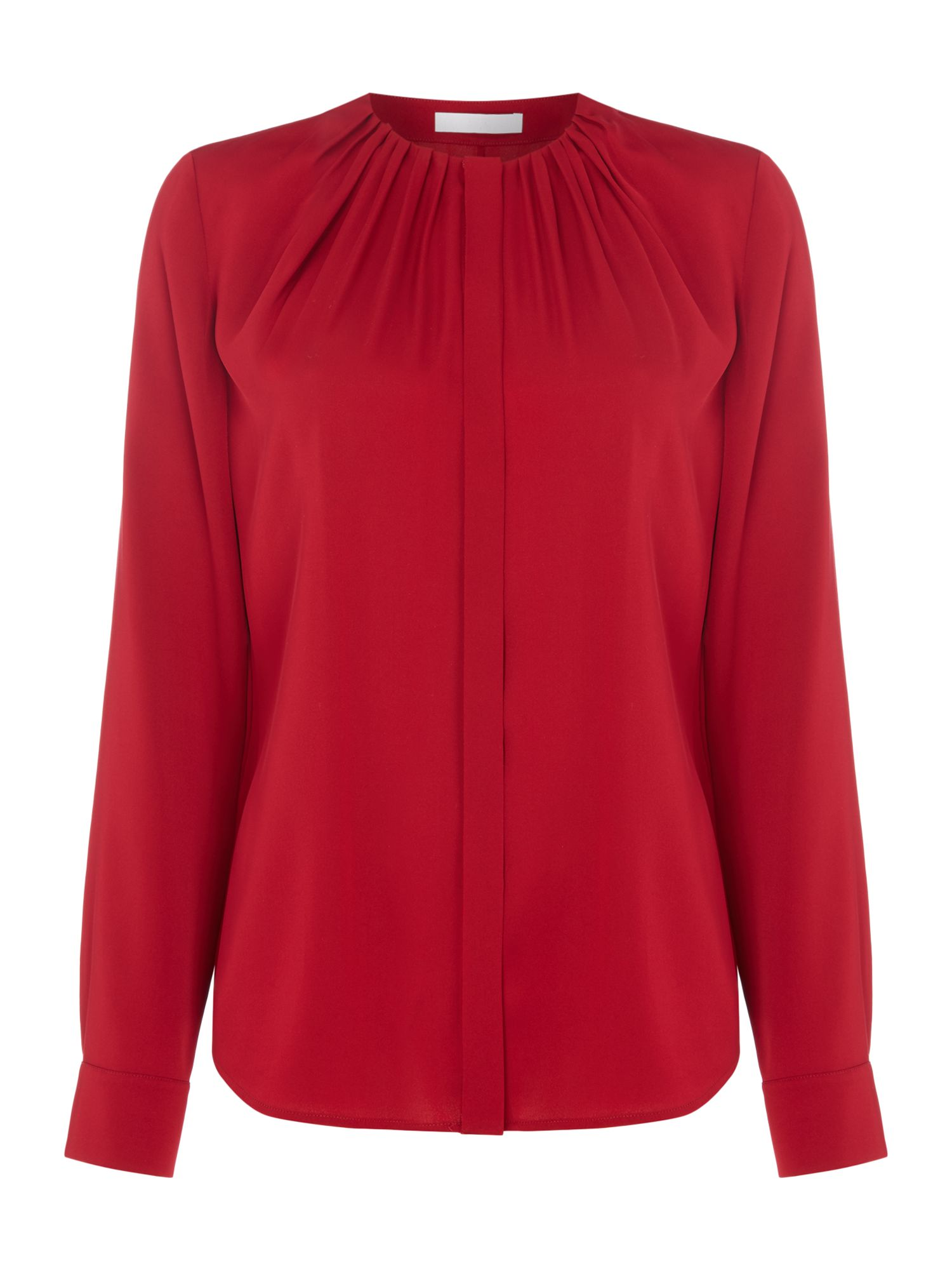 Hugo Boss Bandora Rouched Neck Silk Blouse, Red