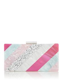 Olga Berg Stripe box clutch bag