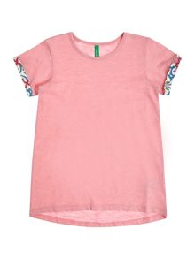 Benetton Girls Pattern Roll Sleeve Short Sleeve T-Shirt