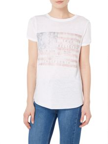 True Religion Flag slit tshirt
