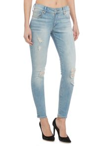 True Religion Casey low rise 29 in paperback blue destroyed