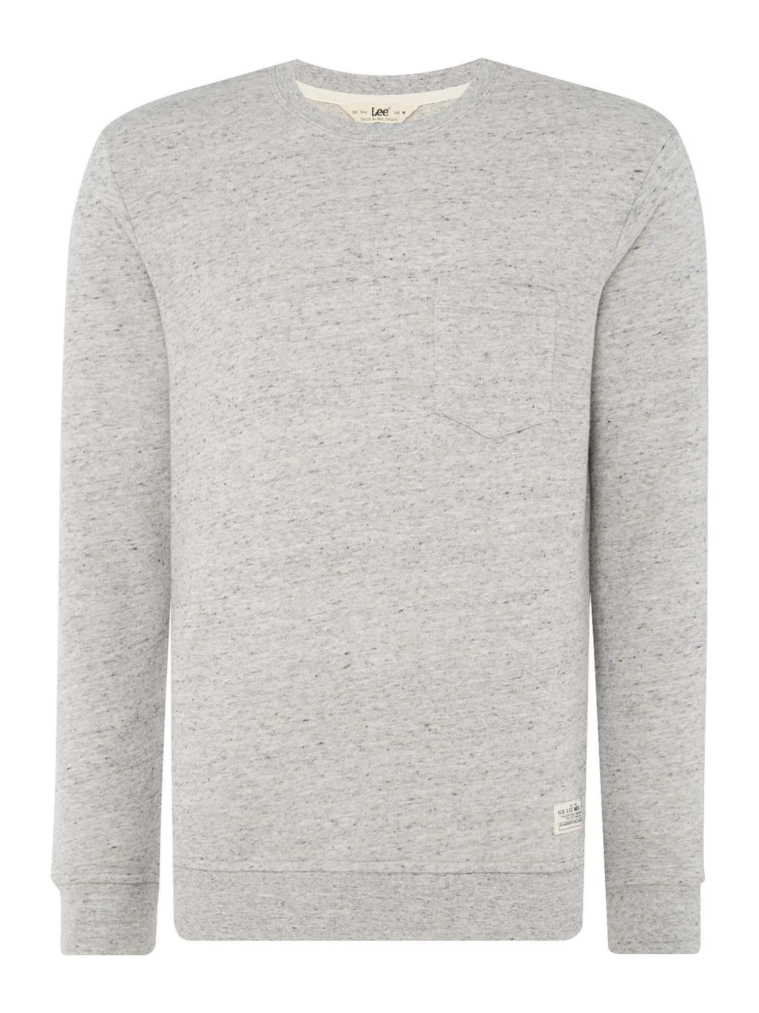 Men's Lee Grey Pocket Sweatshirt, Grey Marl