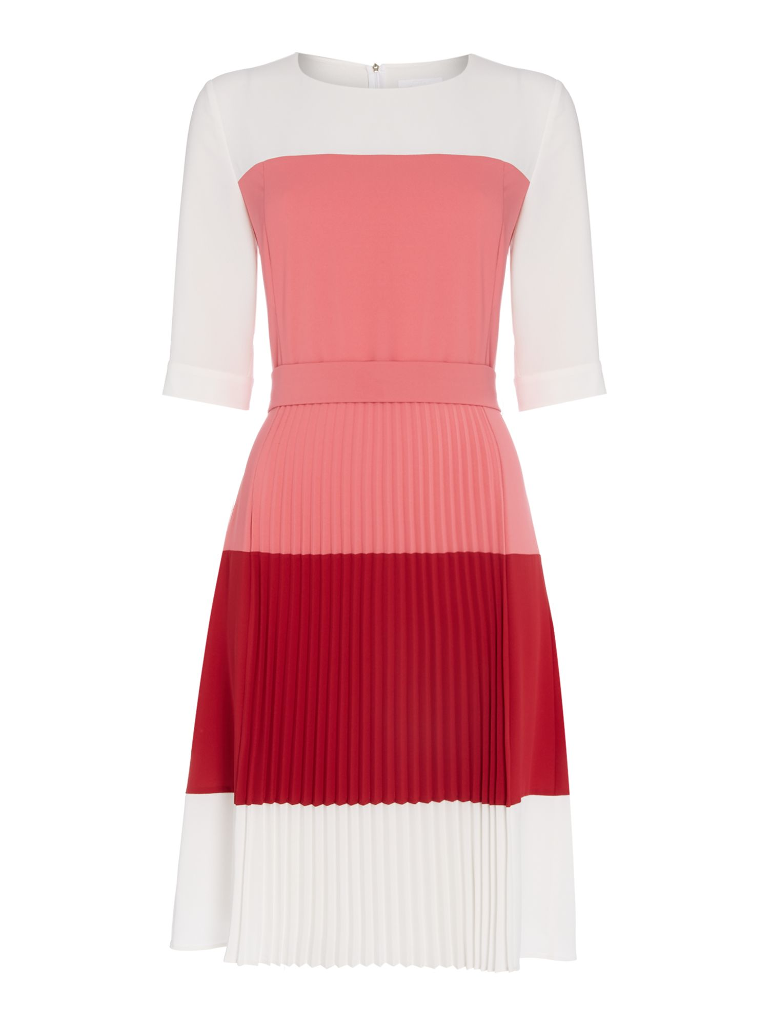 Hugo Boss Diesena pleated colour block dress, Multi-Coloured