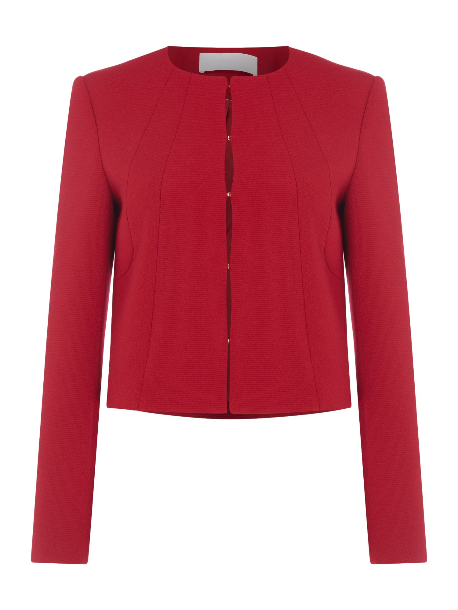 Hugo Boss Jenisa collarless textured jacket, Red