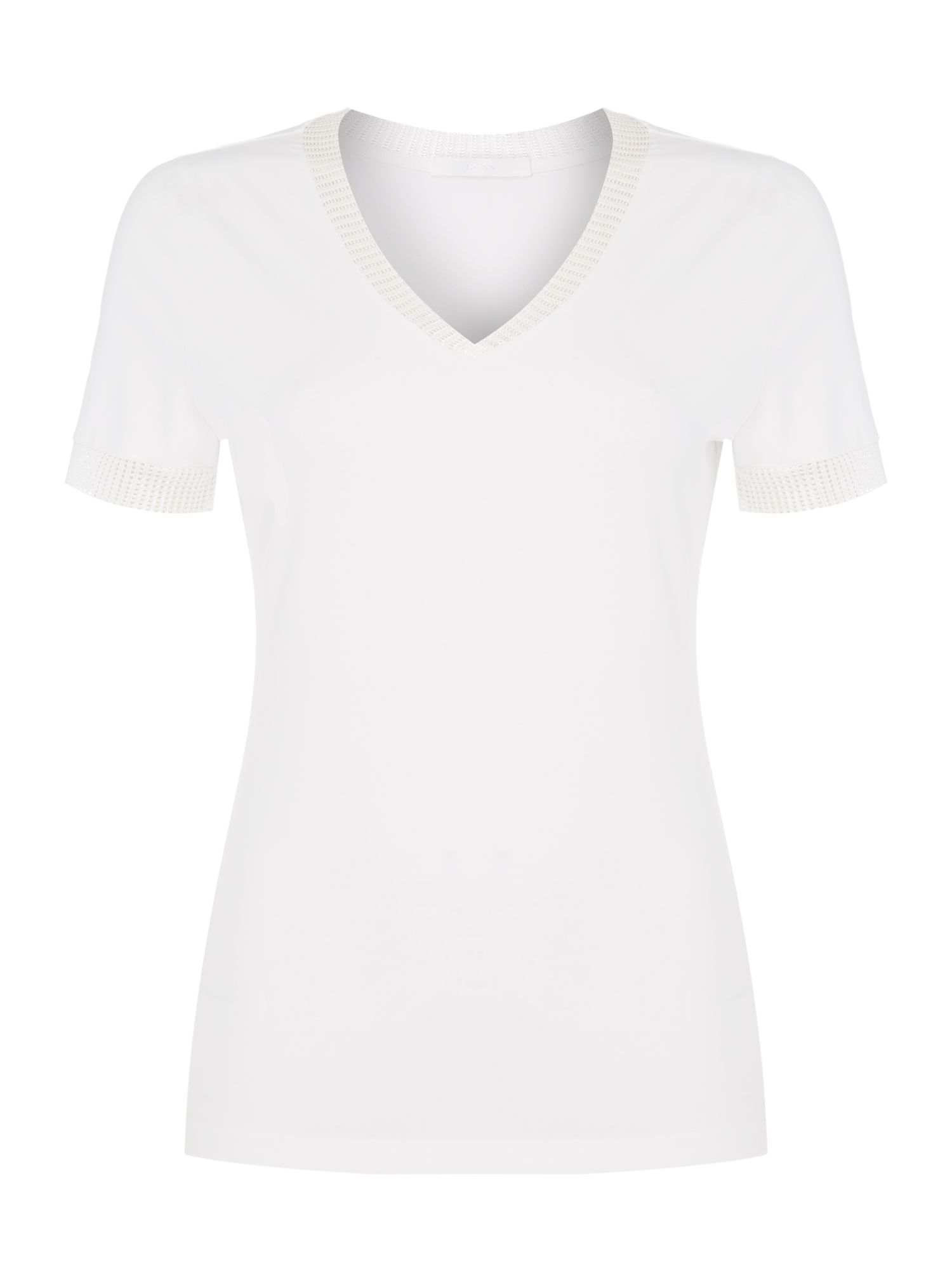 Hugo Boss Enzania sparkle edge top, White