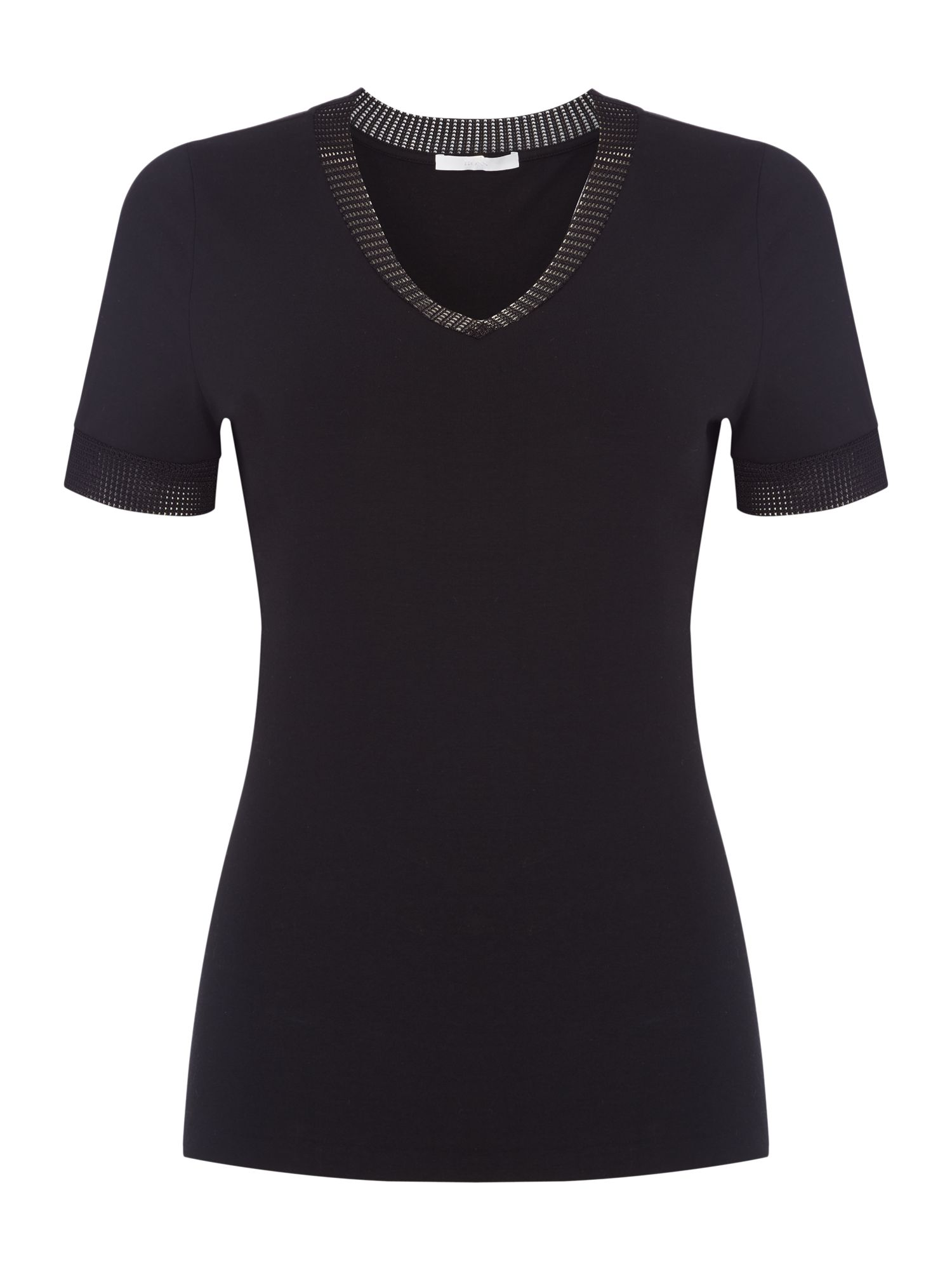 Hugo Boss Enzania sparkle edge top, Black