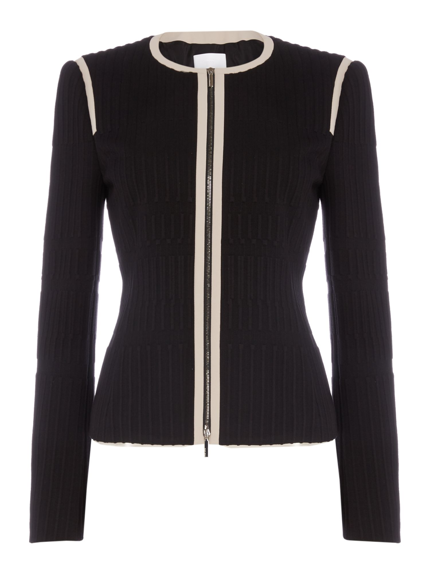 Hugo Boss Kadea one grid print zip through jacket, Black